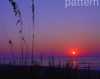 purple sunrise cross stitch pattern, counted cross stitch, pattern keeper, scenic cross stitch, pdf pattern, landscape pattern