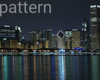 chicago skyline cross stitch pattern, cityscape pattern, pattern keeper, pdf pattern, counted cross stitch, modern cross stitch