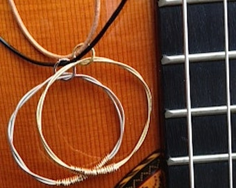 Guitar String Pendant Necklace on Leather Chord/For Him/For Her/Unisex