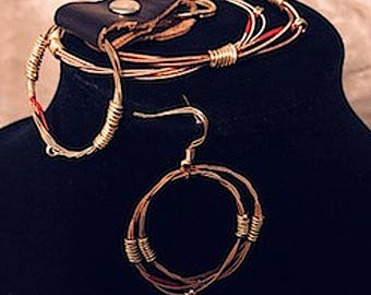 New Item! 4 Piece Gift Set: Red Cloth Guitar String Includes Hoop Earrings, 2 Bangles, Key Chain