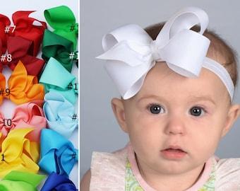 Baby Headband Bows -  Baby Girl headband - Baby Bows - hair bows for babies - 4 inch bows - newborn headband - infant headband HF21