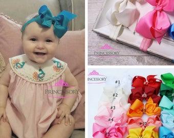 Baby Headband - Baby Girl headband - hair bows -  Baby Headband Set - Baby Bows - hair bows for babies - 4 inch bows - baby hair bows