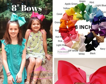 "8"" INCH big hair bows - large hair bow - hairbows - girls boutique bows - big bows for hair - extra large hair bows - boutique hair bow B801"