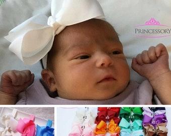 Baby Bows - Baby Headband - Baby Girl headband - Baby Headband Bows - Newborn headband - hair bows for babies - 4 inch bows HF21