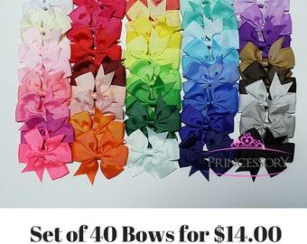 Hair Bows - SET of 40 - baby bows - toddler hair bows - baby girl hair bows - baby girl bows - hairbows - gift - girls hair bow