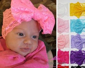 lace baby headbands, baby headband, baby girl headband, baby gift, newborn headband, infant headband, baby lace headband, Baby shower
