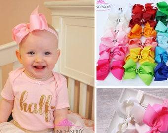 Baby Headband - Baby Girl headband - hair bows -  Baby Bows - baby girl bows - baby headband bows - 4 inch bows - newborn headband HF21