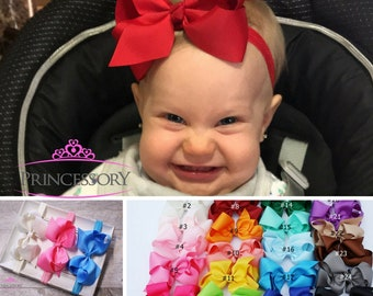 Baby Girl headband - hair bows - Baby Headband - Baby Bows - hair bows for babies - 4 inch bows - baby hair bows - newborn headband set HF21
