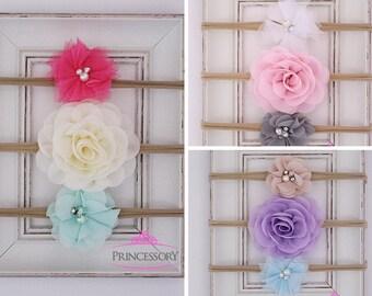 nylon headband - baby shower gift - baby headband set - newborn headband - infant headband - preemie headbands - baby girl headband