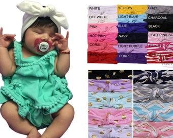 Baby Headbands - baby girl headband set, baby head wrap, infant headbands -newborn headband baby girl - flower headbands -knot headband CH01