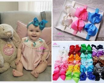hair bows, Baby Headband Bows, Baby Girl headband, Baby Headband Set , Baby Bows , hair bows for babies - 4 inch bows - baby hair bows HF21