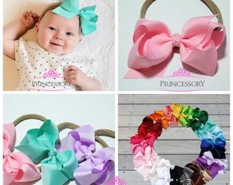 baby bows, Baby Headband, Bows, Baby Girl headband,  hair bows, newborn headband, nylon headband, 4 inch bows, baby hair bows, NY03