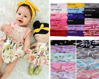 baby girl headband, Newborn headband, Knotted Head wrap, Boho Headband, Baby turban headband, Infant headband, Baby turban, Headwrap CH01