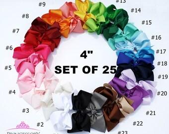"""Hair Bows (25 Pack), Girls Large Hair Bows, Boutique Hair Bows, Large Bow, Hair Bow for Girl Large, Hair Bow Set, Teen hair bows, 4"""" bowB401"""