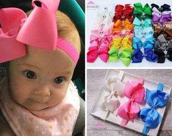 Baby Headband, Bows, baby bows, Baby Girl headband, hair bows, 4 inch bows, baby hair bows.  baby headband set , newborn headband, HF21
