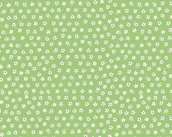 Tiny White Daisies on Green, Green Floral, Calico Daisy Fabric in Green from Riley Blake