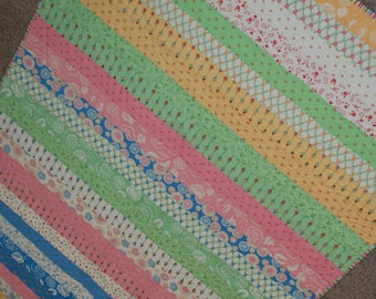 Scrappy Strips Baby Girl Quilt, Toddler Girl Quilt, Simple Colorful Quilt