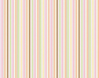 FREE SHIPPING!  Sweet Baby Girl Stripe fabric in Multi by Doodlebug Design for Riley Blake