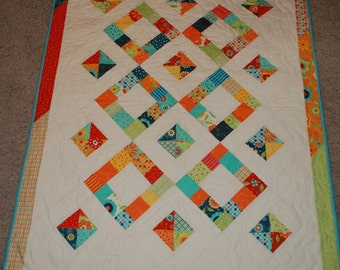 Baby Girl  or Toddler Quilt in Bright Block Party Fabrics