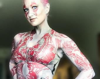 Drax Temporary Cosplay Tattoo Bodysuit