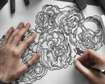 Classical Rose Temporary Tattoo Illustration Digital Download