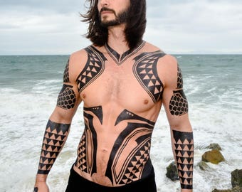 Full Torso Aqua Cosplay Tattoos