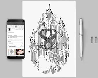 Mermaid Palace Tattoo Template Digital Download