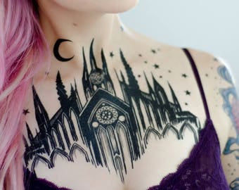 Black Cathedral Chest Piece Temporary Tattoo