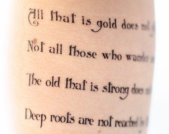 All That is Gold Does Not Glitter Temporary Tattoo