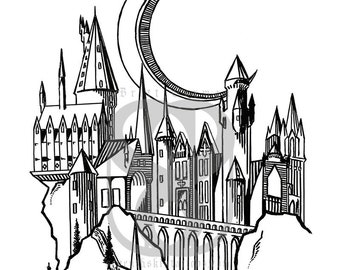 Magic Castle Linework Print