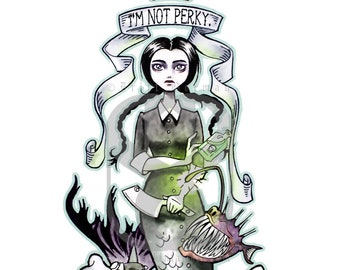 Wednesday Addams as a Mermaid Print