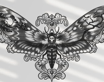 Death's Head Moth Temporary Tattoo Illustration Digital Download