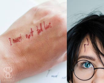 Realistic Lightning Bolt Scar and I Must Not Tell Lies Temporary Tattoo Set