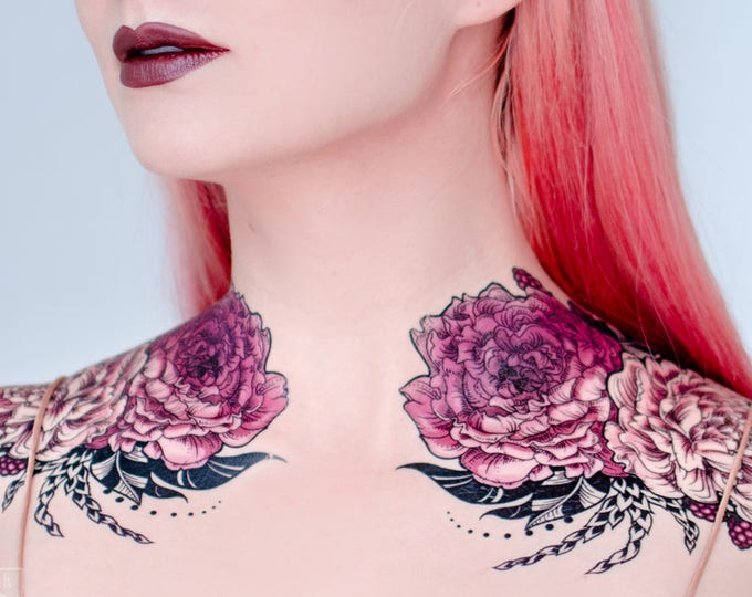 Featured listing image: Rose of Sharon Small Temporary Tattoo Set