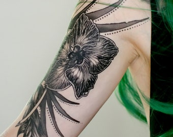 Dark Tropical Floral Temporary Tattoo