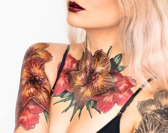 Hibiscus Chest Piece Large Temporary Tattoo