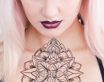 Mandala Inspired Medallion Temporary Tattoo
