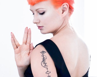 Live Long and Prosper Vulcan Calligraphy Temporary Tattoo