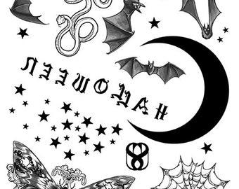 Halloween I Temporary Tattoo Flash Sheet Digital Download