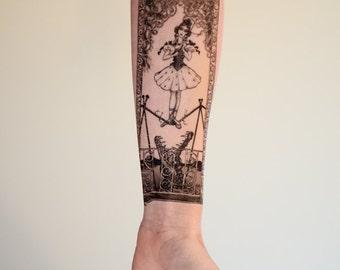 Tightrope Girl Small Temporary Tattoo