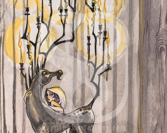 Candelabra, Watercolor and Pen Original