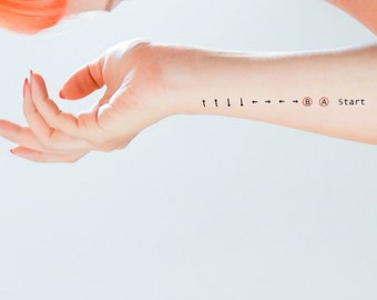 Konami Code Temporary Tattoo