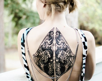 Tribal Baroque Back Piece Tattoo