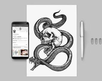 Snake and Skull Tattoo Design Template Digital Download