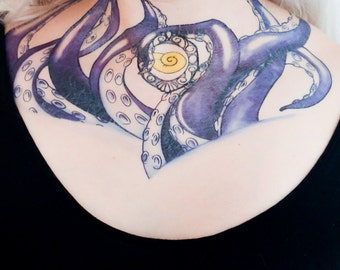 Seashell and Tentacle Sea Witch Temporary Tattoo