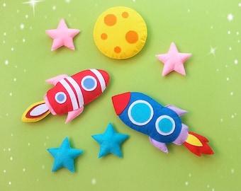 Rocket ship toy Baby felt space toy Nursery decor toy Solar system ornament Felt toy for boy Kids room decor Order any color