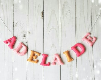 felt name banner, felt name garland, holiday decor, felt birthday banner, Birthday Party decor, personalized name, hanging name banner