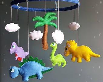 Dinosaur baby crib mobile Nursery decor Felt mobile Hanging mobile Baby shower gift Baby boy mobile Baby girl mobile Choose color