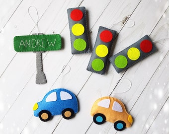 Felt Toys Cars Traffic Sign And Light Baby Boy Room Decor Kids Ornament Hanging Car