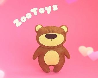 Felt Teddy bear Stuffed toy bear Plush toy bear Ornament bear Woodland bear Forest animal Cute bear toy Nursery toy Decor baby room